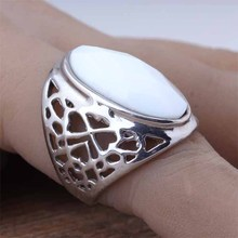 Top Fashion Stainless Steel Big Oval White Imitation GemStone Finger Rings For Women Charm Vintage Costume Jewellery 2016 (A080)