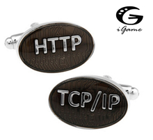 iGame HTTP&TCP/IP Cuff Links Grey Color Internet Symbol Letters Design Free Shipping