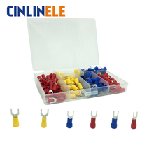 190pcs/lot 6-different Crimp Terminal Fork Spade connector kit set Wire Copper Crimp Connector Insulated Cord Pin End Terminal(China)