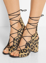 Summer 2017 new women sexy gladiator cuts out cross lace up rough heel sandals leopard/black/brown high heel dress shoes lady