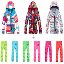 High quality 2017 women snowboard Clothing Ladies Skiing Suit Set outdoor Winter snow Custome 10K waterproof Jackets+pants