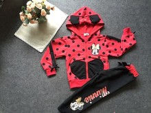 baby girls clothing sets cartoon minnie mouse 2014 winter children's wear cotton casual tracksuits kids clothes sports suit hot