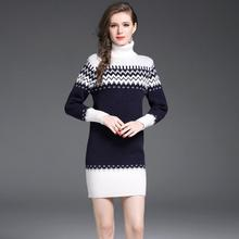 2017 New Women Winter High Collar Thick Warm Knitted Sweater Dress Homme Trend Clothing European Patchwork Work Office Dress(China)