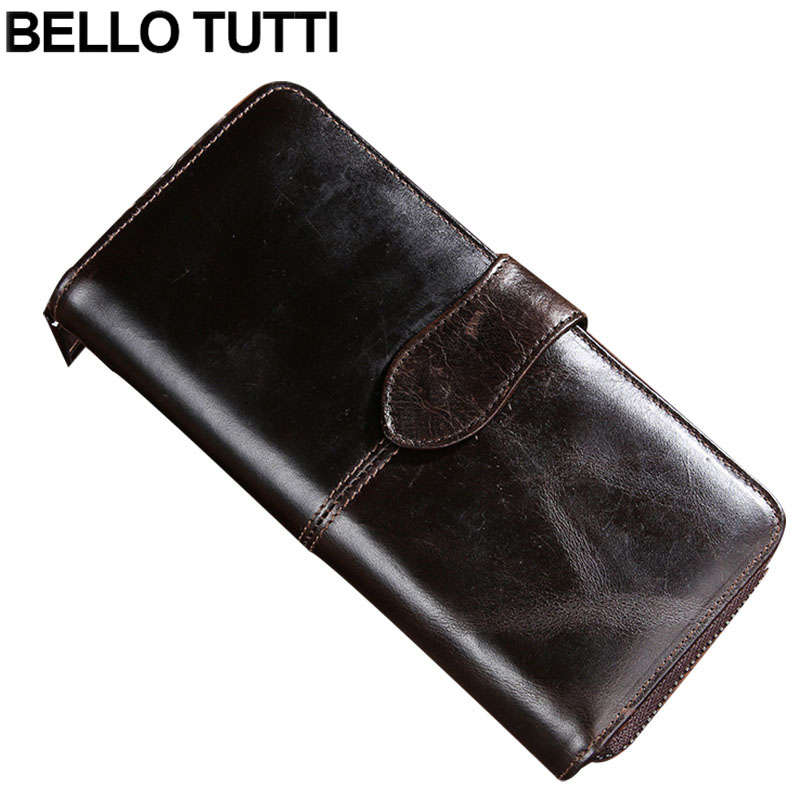 BELLO TUTTI Men Long Wallet Phone Bag Vintage Genuine Cow Leather Clutch Wallet Male Purses Large Capacity Mens Wallets<br>