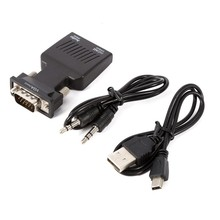 1080P VGA to HDMI Converter Adapter Box Audio Port VGA Extension Cable with Mini USB Power Cable 3.5mm Audio Cable
