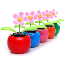 1PCS New Arrival Plastic Crafts Home Car Flowerpot Solar Power Flip Flap Flower Plant Swing Auto Dance Toy Colors Random(China)
