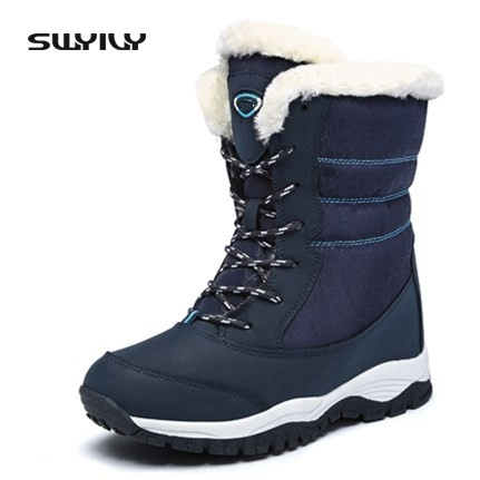 2017 Genuine Leather Winter Boots Woman Lace Up Snowboots Female Waterproof Ski Outdoor Shoes Size 41