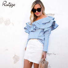 2017 RUIYIGE Women Lady One Shoulder Off Shoulder Ruffles Blouse Shirt Tops Summer Autumn Casual Striped Shirt Long sleeve Frill