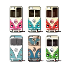 For iPhone 4 4S 5 5C SE 6 6S 7 Plus Samsung Galaxy Grand Core Prime Alpha Vintage Volkswagen VW Minibus T1 Pink Blue Case(China)