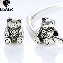 BISAER Silver Plated Charms Cabochon Polished Metal Bear Beads Jewelry Making Original Accessories Diy Long Half Beads Wholesale