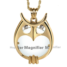 Gold color Plated Owl Pendant Necklace Heart Shape Window Lady Fashion Necklaces Magnifying Glass For Reading Purpose Convenient(China)