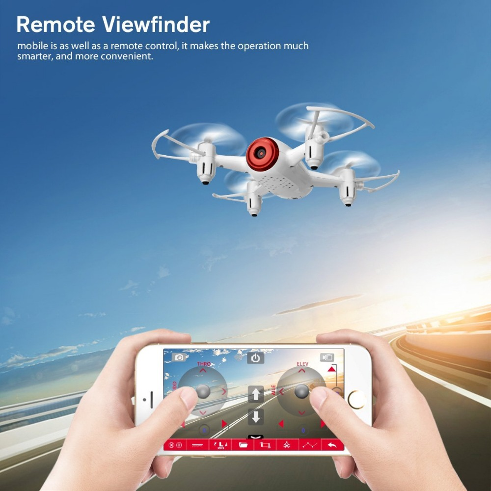 Mini UFO Quadcopter Syma X22W Wifi FPV Pocket Drone HD Camera Headless Mode RC Drone with Flight Plan and App Control White