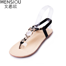 New Fashion 2017 Casual Women Sandals Comfort Summer shoes Classic Rhinestone Flat Sandslias Feminina BS14(China)
