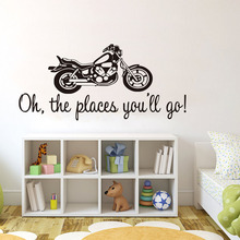 Buy Oh Places You'Ll Go Classic English Motorcycle Wall Stickers Bedroom Removable Kids Room Sport Mural Vinyl Art Wall Decals for $9.28 in AliExpress store