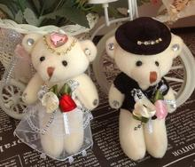 Free shipping wholesale 12pcs/lot plush stuffed Jointed teddy toys;12cm Wedding Bear DOLL; Flower Bouquet Bear Figure DOLL TOY