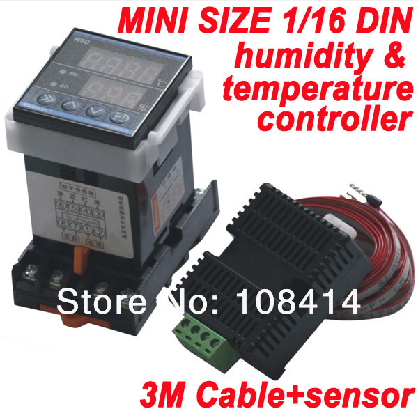 MINI SIZE 1/16  (48*48mm)  DIN RAIL digital Temperature Humidity Controller with Sensor<br><br>Aliexpress