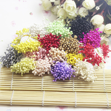 AJP 150PCS/lot Artificial Flower Double Heads Stamen Pearlized Craft Cards Cakes Decor Floral for home wedding party decor(China)