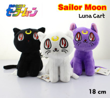 "Free Shipping Cute 7"" Anime Sailor Moon the Cat Luna Artemis 18cm White/Black/Purple Stuffed Toy Kids Plush Doll Soft Toys(China)"