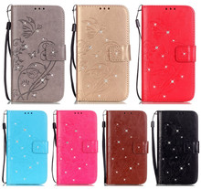 DEEVOLPO wallet PU Leather case for Samsung Galaxy S2 S II i9100 flip Card Slot Rhinestone Butterfly DP26(China)