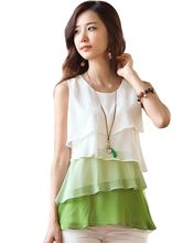 2017 New Multi-Colors Blouse Shirt Spring/Summer Style Flounce Tiered Tops Round Neck Sleeveless Chiffon Shirt Blusas Femininas(China)