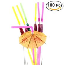 100pcs Fluorescent Umbrella Straws Disposable Drinking Suckers Tubularis For Bar Club DIY Drink Party Decoration(Mixed Color)