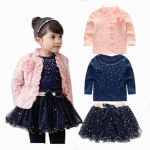 Anlencool 2017 girls autumn ladies lace princess skirt three sets of flowers jacket yarn skirt manufacturers selling skirt suit
