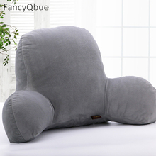 Bed Reading Rest Waist Pillow Back Cushion with Arm Support Chair Car Seat Sofa Rest Lumbar Cushion Cotton Linen Plush Fabric