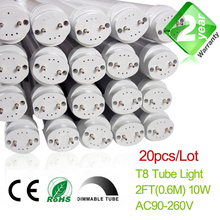 Free Shipping Dimmable 20pcs/Lot 2ft T8 LED Fluorescent Tube Light 600mm 10W 900LM CE & RoSH 2 Year Warranty SMD2835 Epistar