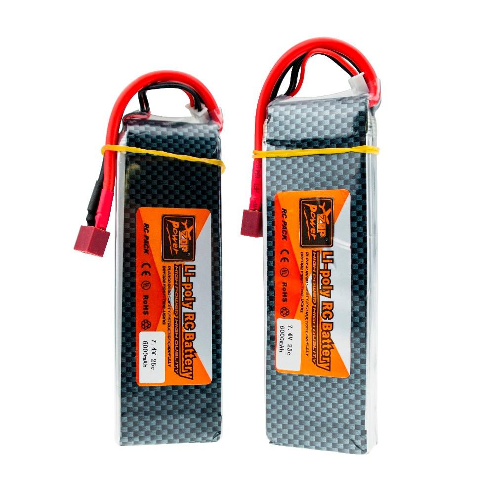 2PCS Li po Battery Arrival Rechargeable ZOP Power 2S 7.4V 6000MAH 25C Lipo Battery T XT60 Plug<br>