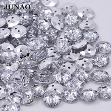 JUNAO 15mm White Clear Rhinestone Buttons Round Sewing Buttons Flatback Acrylic Button For Clothes Coats Scrapbook Crafts 100pcs