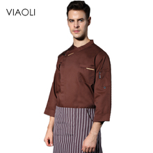 Viaoli 201 autumn and winter senior chef uniforms long-sleeved men's food service cooking costume 4-color large size cook jacket(China)