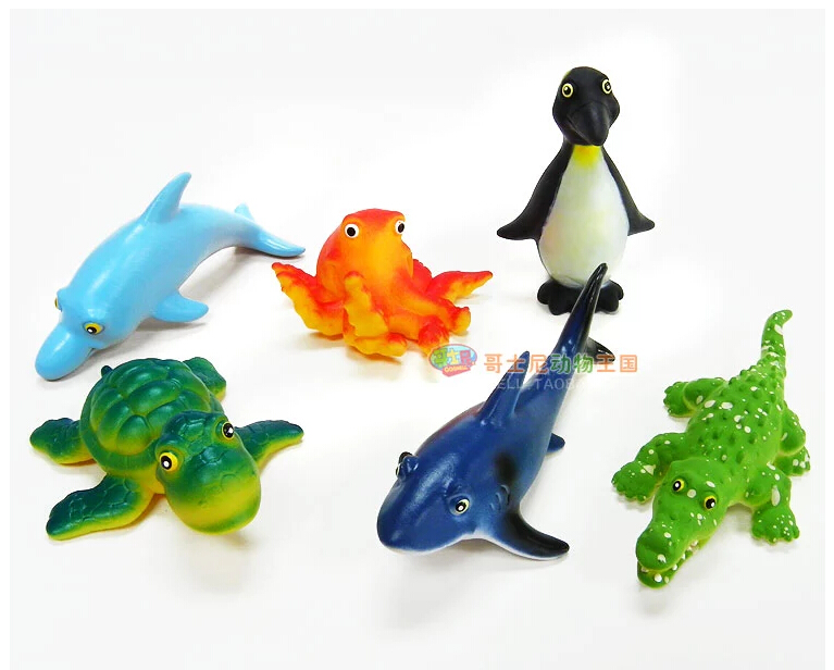 Free Shipping (6 pieces/pack) Cute Animal Model Soft Rubber Toy Penguin/Turtle/Dolphins/Shark/Crocodile/Octopus Sea World Figure<br><br>Aliexpress