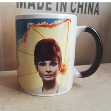 New Magic Mug Color Changing Cups Temperature Sensitive Reactive Coffee Cup Printing with Audrey Hepburn Art Picture