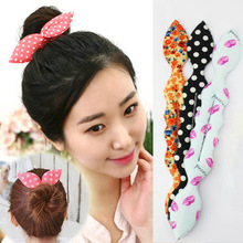 Korea rabbit ears hair accessories hair meatball dish sponge head bud head hair tools hair stick sweet
