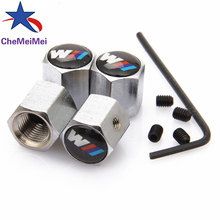 CheMeiMei 4Pcs/Pack Theftproof Car Logo Wheel Tire Valves Tyre Stem Air Caps Airtight Cover for BMW M Series Car-Styling