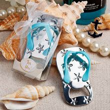 New Arrival Flip flop wine bottle opener with starfish design 32PCS/LOT wedding favor guest gift (Blue Color)(China)