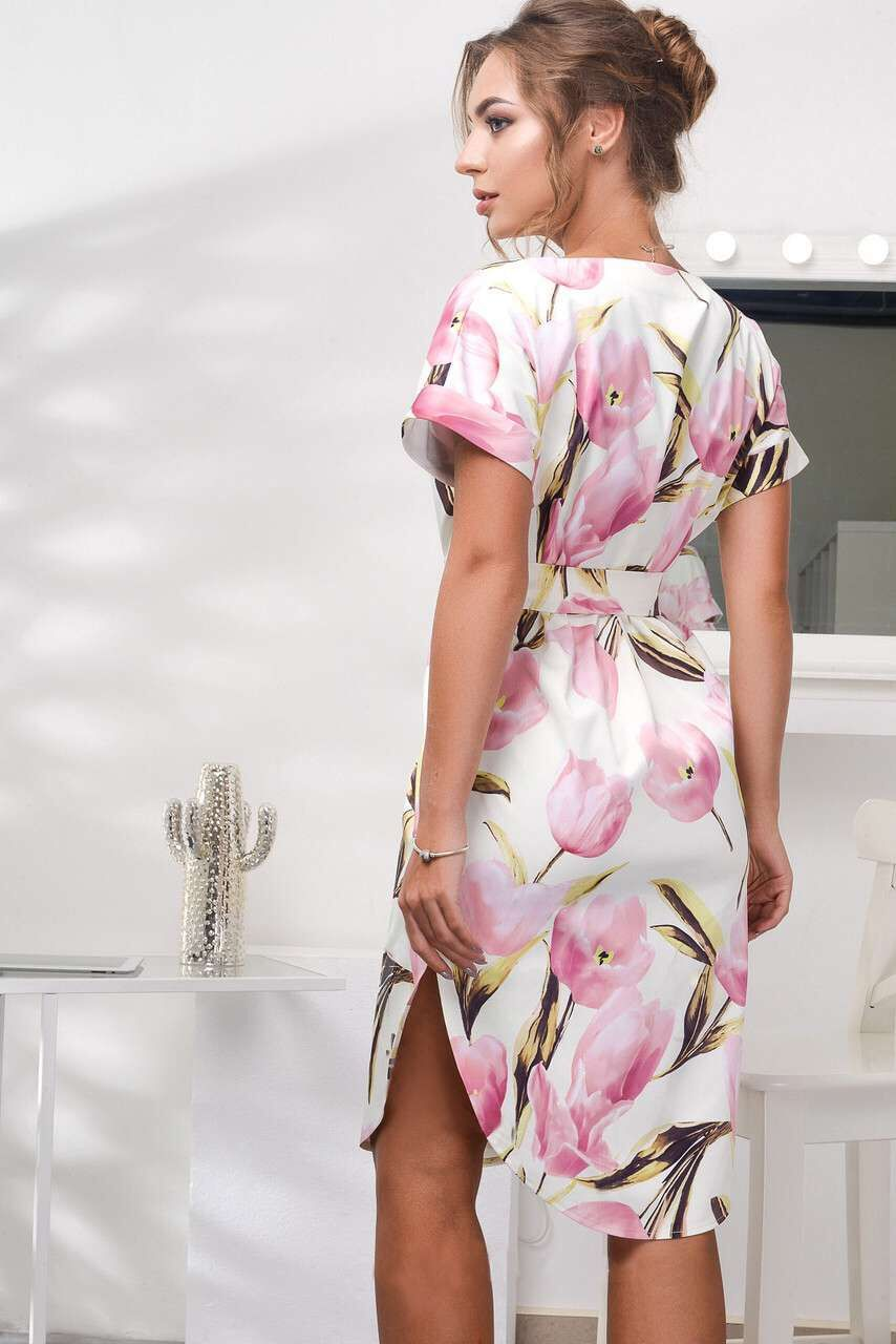 2018 Spring Summer Printed Women Dress O-Neck Hem Side Split Ladies Dresses Tie Sashes Short Sleeve Casual Sexy Female Vestidos 7