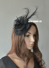 NEW black Sinamay fascinator wedding bridal hat with long feather,free shopping.