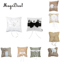 MagiDeal 15x15cm Flower Wedding Ring Pillow Lace Trim Wedding Party Pocket Ring Pillow Pearl Cushion Party Decoration(China)