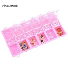 Youe shone 12 Divided Slots Compartment Container Nail Art Accessories Rhinestones Jewelry Box Storage Display Nail Box