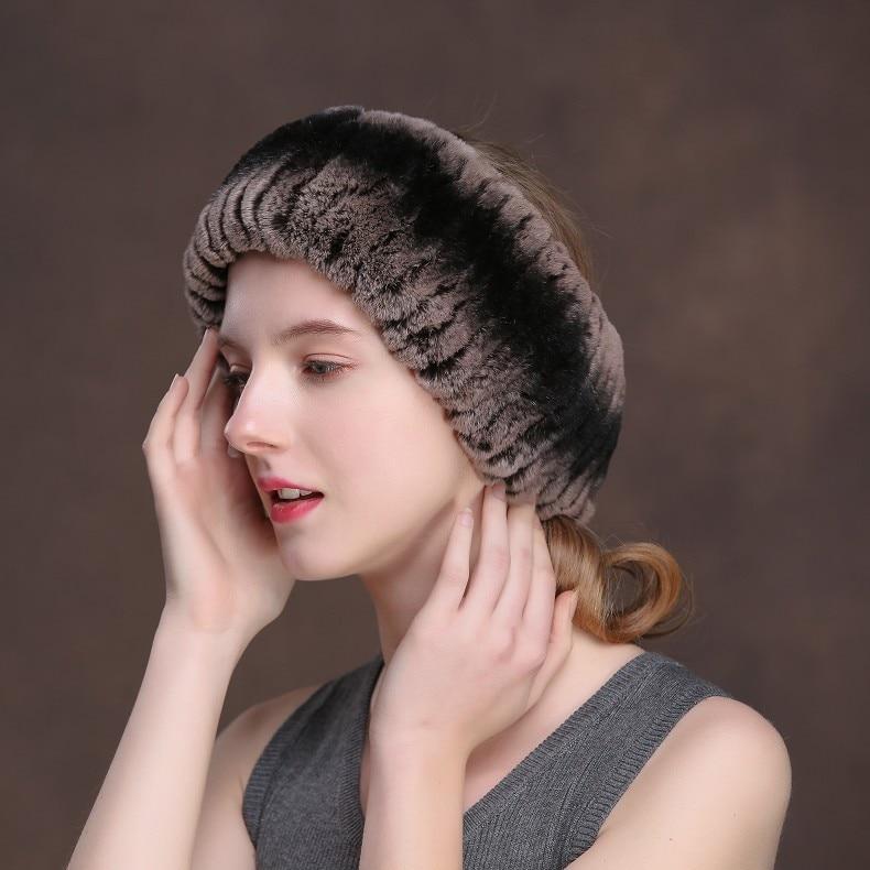 Winter Fur Headbands For Women Knitted Rex Rabbit Fur Scarf Hats Natural Fur Ring hairband Neckwarmer female (11)