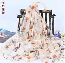 new 100% mulberry silk chiffon silk scarf the afternoon warmth(China)