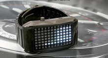 72 White LED Light Fashion Dot Matrix Mens Black WATCH freeship