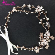 Handmade Flower and Freshwater Pearl Wedding Vines Rose Gold & Silver Hair Vine Rhinestone Bridal Wreath Boho Halo(China)