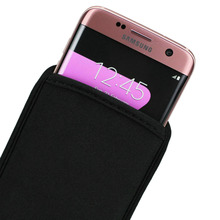 Wholesale 2pcs/ lot, Elastic Neoprene Shock Absorbing Impact Resistant Smartphone Pouch Sleeve Bag For Samsung Galaxy S7 Edge