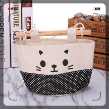 MAIOUMY new cotton clothes cartoon cat hanging storage bag flower basket storage debris bag wall combination cute cat face bag