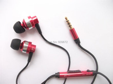 3.5mm Handsfree Earbuds with Microphone ,  Red Color , inline volume control, for cellphones ,  Singapore free shipping