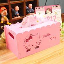 Hello Kitty Cartoon Animation Tissue Case Box Home Decor Wooden Towel Paper Box Home/Car Napkin Papers Bag Holder Box  B41