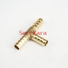 LOT 2 T Hose Barb I/D 6mm 3 Ways Brass coupler Splicer Connector fitting for Fuel Gas Water