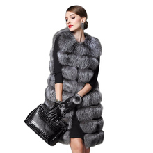 2016 new faux fur coat women's fur vest silver fox hair Colete Feminino lengthen plus size winter women